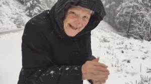 Footage of 101-year-old woman jumping out of car to make snowball goes viral