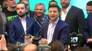 Comedian Volodymyr Zelenskiy celebrates landslide win in Ukrainian presidential race