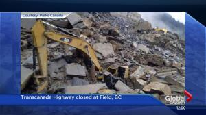 Rock slide closes TransCanada Highway west of Field, workers injured