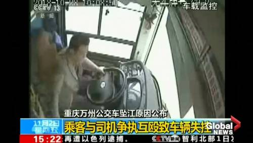 Surveillance video captures driver and passenger fighting moments before  China's deadly bus plunge
