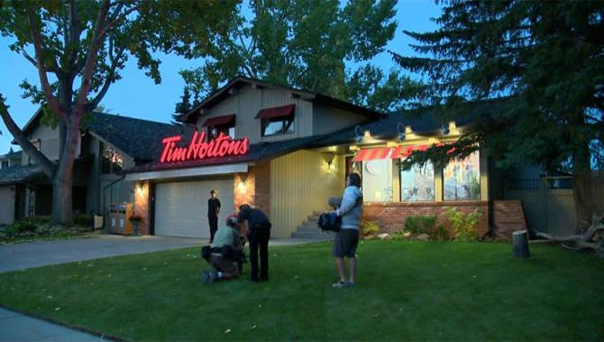 calgary home transformed into tim hortons for a day. Black Bedroom Furniture Sets. Home Design Ideas