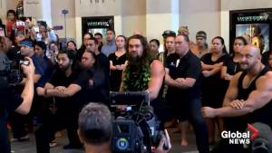 Jason Momoa performs traditional Maori war dance