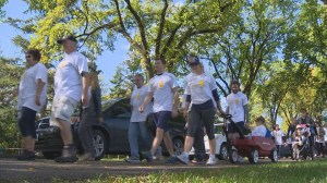 Support for Bladder Cancer walking through Winnipeg