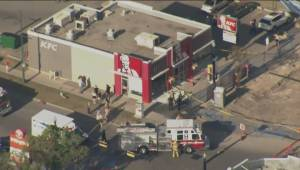 RAW: Car crashes into KFC restaurant in Calgary
