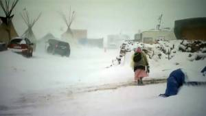 Dakota Access Pipeline protesters hunkered down in the face of a winter storm
