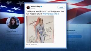 First Lady Melania Trump remembers Karl Lagerfeld, says world lost 'creative genius'