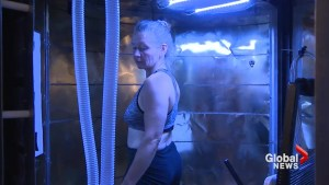 Exercising in the heat? Woman put to the test in boiling hot calorimeter room