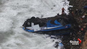 Dozens killed after bus careens off cliff in Peru