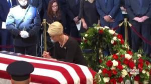 John McCain funeral: Cindy McCain prays over husband's casket during memorial