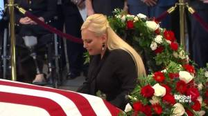 John McCain funeral: Meghan McCain weeps over father's casket