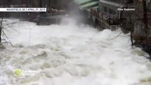 Raging La Peche River rushes past tourist spot in Wakefield, Ont.