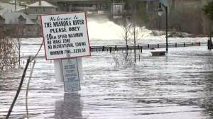 Bracebridge inundated with water as Ontario town hit with intense flooding (02:17)