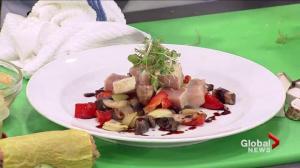 Tojo's grilled portobello sugomori and tuna sashimi salad