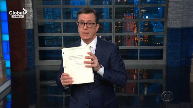 Colbert slams Trump in lengthy monologue about Mueller report