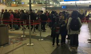 Busy day at the Edmonton International Airport on the first day of spring break