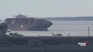 Time-lapse video captures massive cargo ship maneuvering into Halifax Harbour