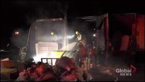Fire breaks out in tractor trailer units in Peterborough