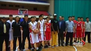 Dennis Rodman observes, advises North Korean basketball team