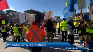 Pro-pipeline convoy rallies in Ottawa to protest federal oil policies