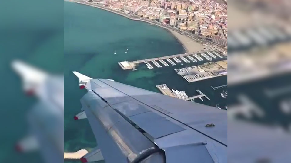 Plane struggles in high winds over Gibraltar