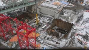 Raw: Drone video of Walterdale Bridge