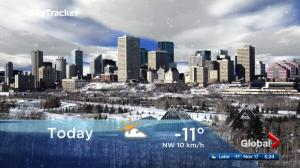 Edmonton early morning weather forecast: Friday, November 17, 2017