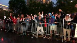 Montrealers cheer on the Toronto Raptors