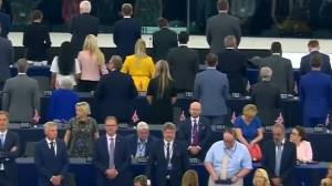 Brexit Party members of European Parliament turn backs to EU anthem