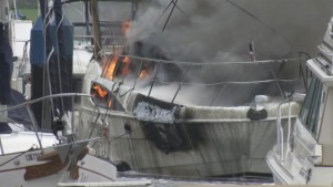 Downtown Vancouver boat fire lights up social media