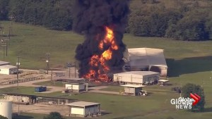 Massive fire at chemical plant in Crosby, TX send thick, black column of smoke into air