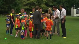 Trudeau gets Irish hurling lesson from kids during Dublin visit