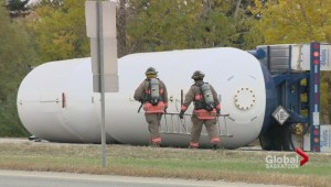 College Drive closed after semi carrying anhydrous ammonia rolls