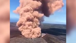 Aerial video shows pink smoke and ash from Hawaii's Kilauea Volcano