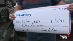 Iowa man who won $1 in lottery insists on being paid with giant novelty cheque
