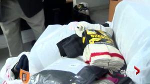 Donating socks to Montreal's homeless