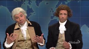 Jimmy Fallon and Seth Meyers seem as Washington and Jefferson to urge their legacies on SNL Weekend Update