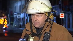 Peterborough fire chief  talks about downtown fire on George St.