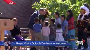 Children present gifts to Prince William and Kate during UBC Okanagan visit