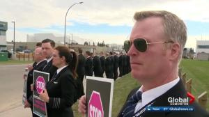 Pilots demand better working conditions outside WestJet headquarters