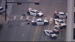 Aerial footage shows Dallas shooting scene with police cars still present