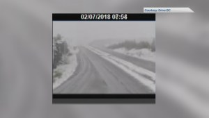 Time-lapse showing snow falling on B.C. highway in July