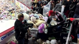Teddy bears rain down on ice for charity as Calgary Hitmen beat Kamloops Blazers