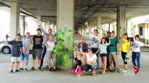 Montreal artists decorate glum underpass with painted plants