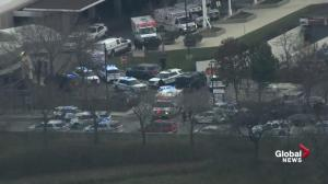 Emergency crews leave Mercy Hospital after reported shooting