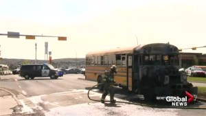 School bus catches fire in Calgary Monday afternoon
