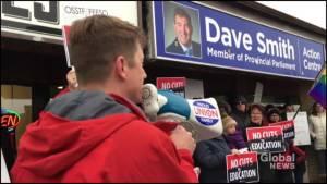 Teachers union protests outside Peterborough-Kawartha MPP's office