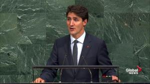 Trudeau gets round of applause over climate change remark at UN