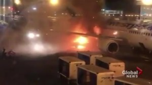 Viewer video captures fire on YYC Calgary International Airport tarmac