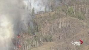 Global 1 aerial footage of fires near Bruderheim