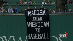 MLB game halted after 'Racism is as American as Baseball' banner hung from stadium